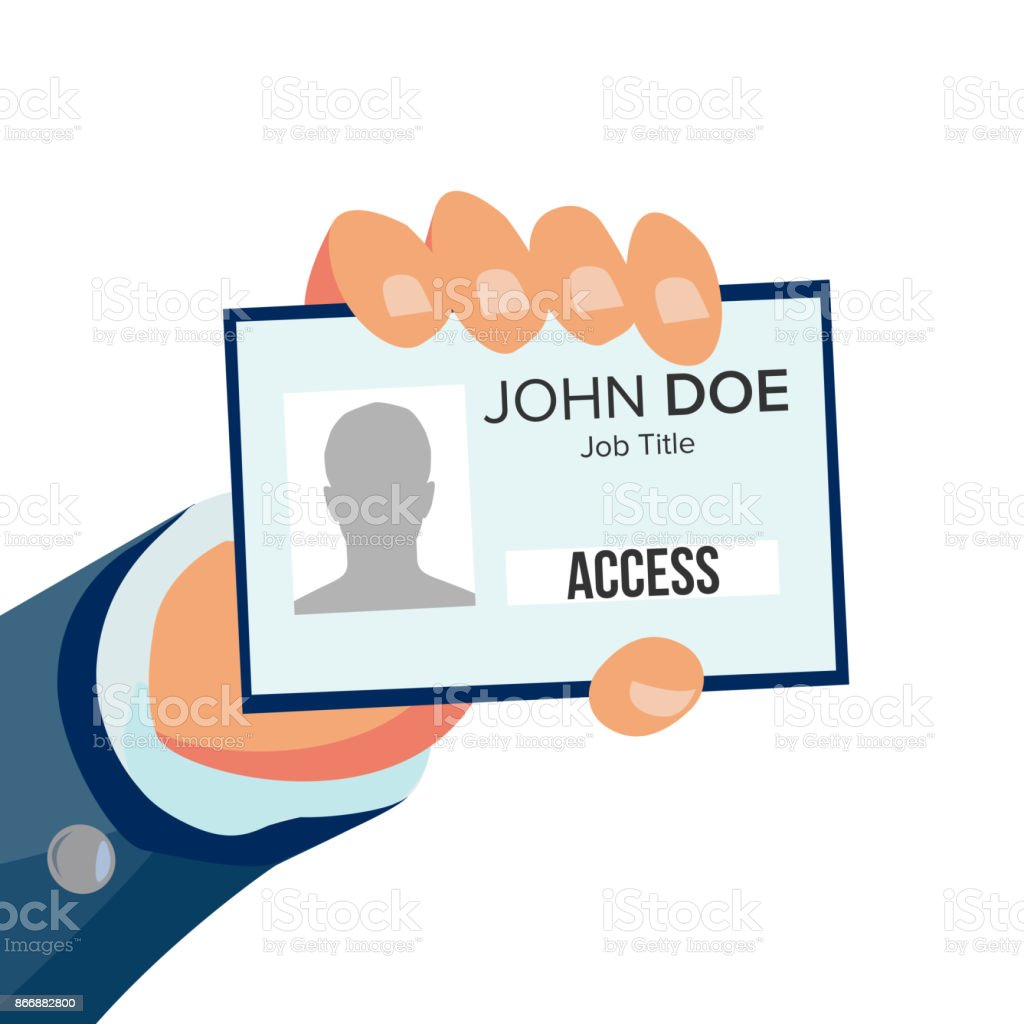 Hand Holding Id Card Vector Identity Card With Photo And Job Title ...