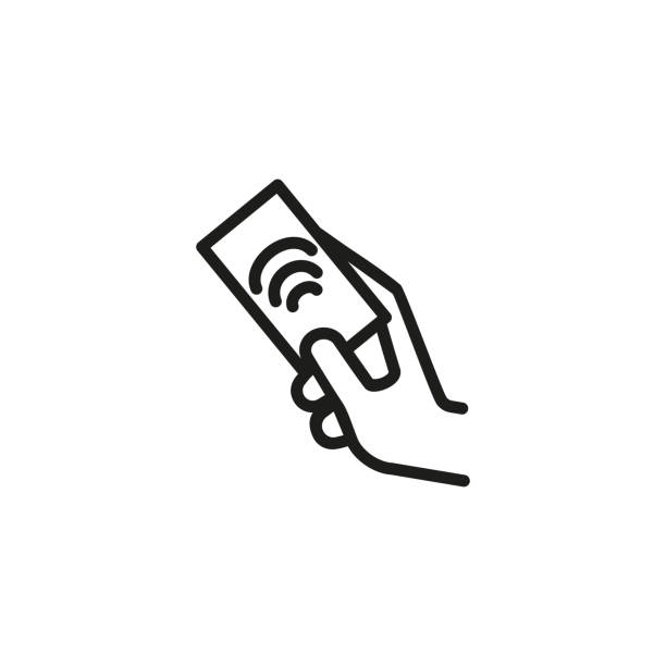 Hand holding identification card line icon Hand holding identification card line icon. RFID card, access control, blue key card. Biometrics concept. Vector illustration can be used for topics like security, technology, protection cardkey stock illustrations