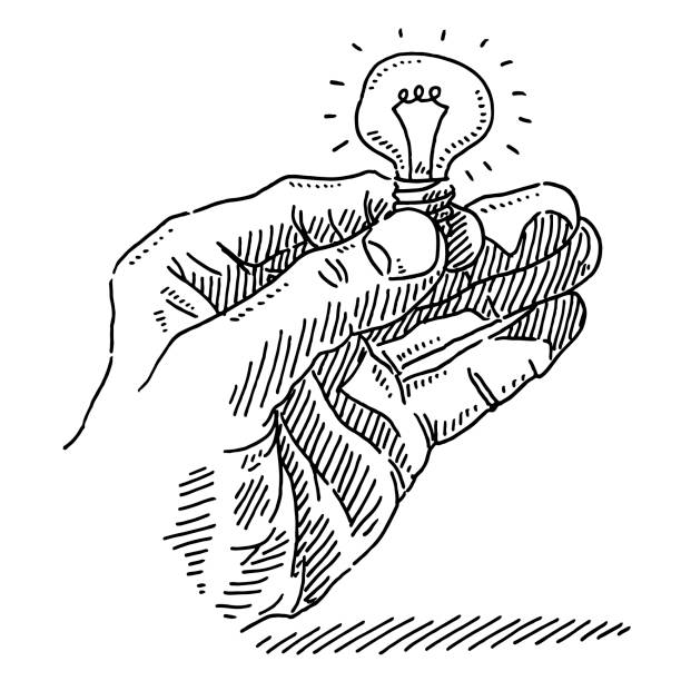 Hand Holding Illuminated Light Bulb Drawing Hand-drawn vector drawing of a Hand Holding an llluminated Light Bulb. Black-and-White sketch on a transparent background (.eps-file). Included files are EPS (v10) and Hi-Res JPG. business stock illustrations