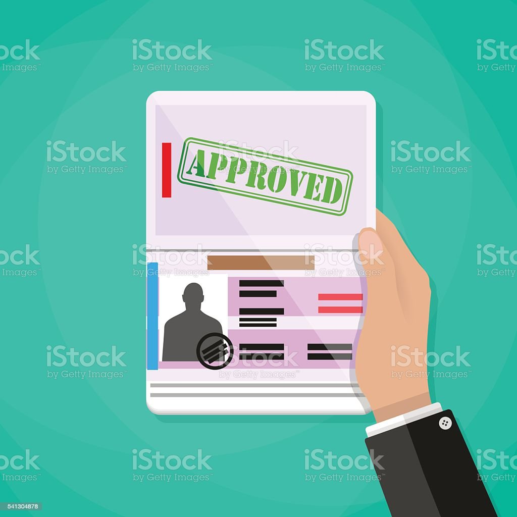 Hand Holding international passport vector art illustration