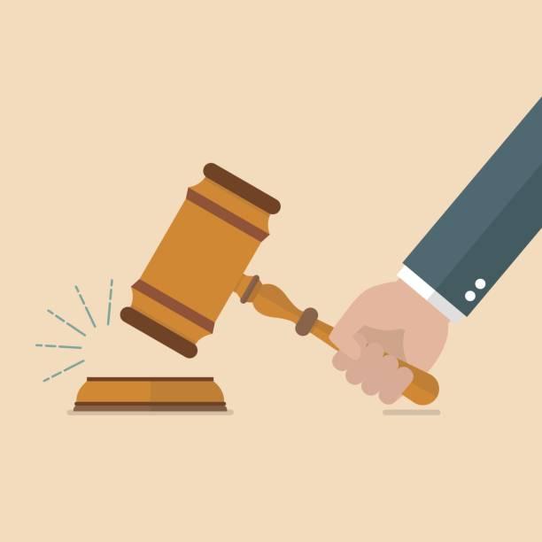 Hand holding judges gavel Hand holding judges gavel. Vector illustration gavel stock illustrations