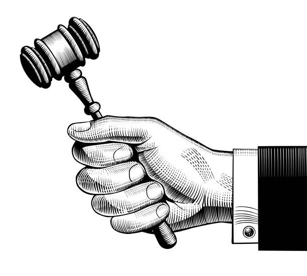Hand holding judges gavel Hand holding judges gavel. Vintage engraving stylized drawing.  Vector illustration judge law stock illustrations