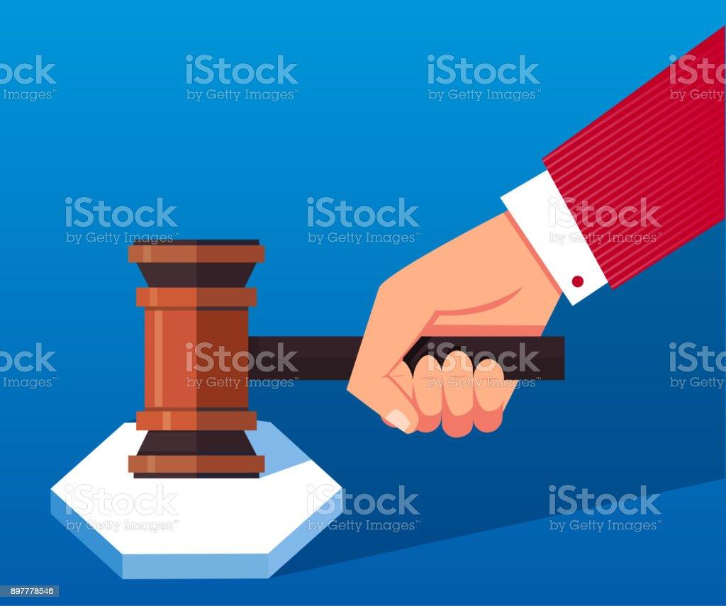 Hand holding judge's gavel vector art illustration