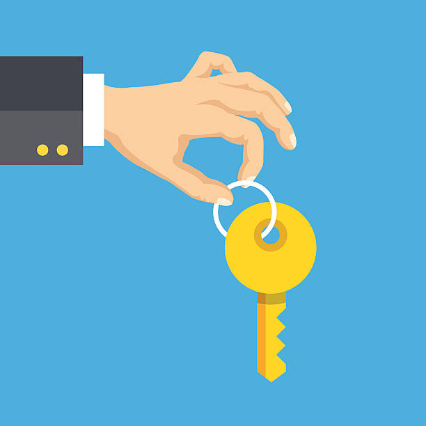 hand holding key. flat style design vector illustration - home stock illustrations