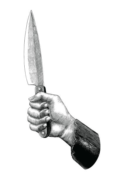 Hand holding knife illustration vintage clip art isolated on white background Hand holding knife illustration vintage clip art isolated on white background cutthroat stock illustrations