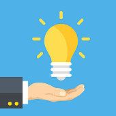 istock Hand holding lightbulb. Human hand and light bulb. Business solution, smart idea, startup, creativity, start up, innovation concepts. Modern flat design graphic elements. Vector illustration 1079243816