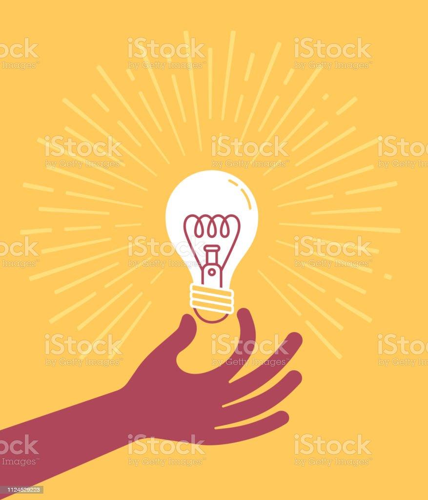 Hand som håller glödlampan - Royaltyfri Antända vektorgrafik