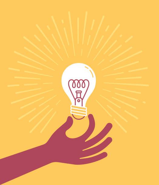 ręczne trzymanie żarówki - natchnienie stock illustrations