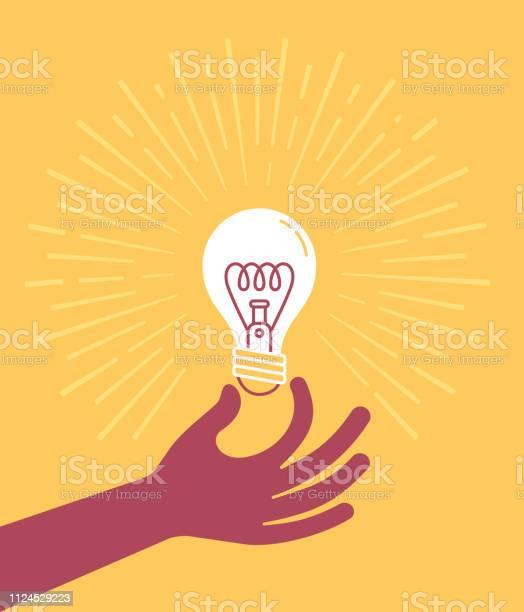 Hand Som Håller Glödlampan-vektorgrafik och fler bilder på Antända