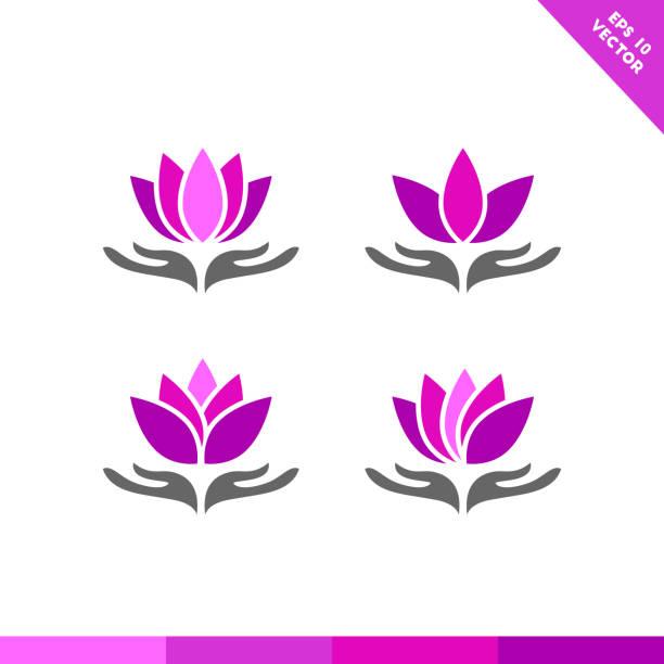 hand, die lotus-blume-symbol - alpenveilchen stock-grafiken, -clipart, -cartoons und -symbole
