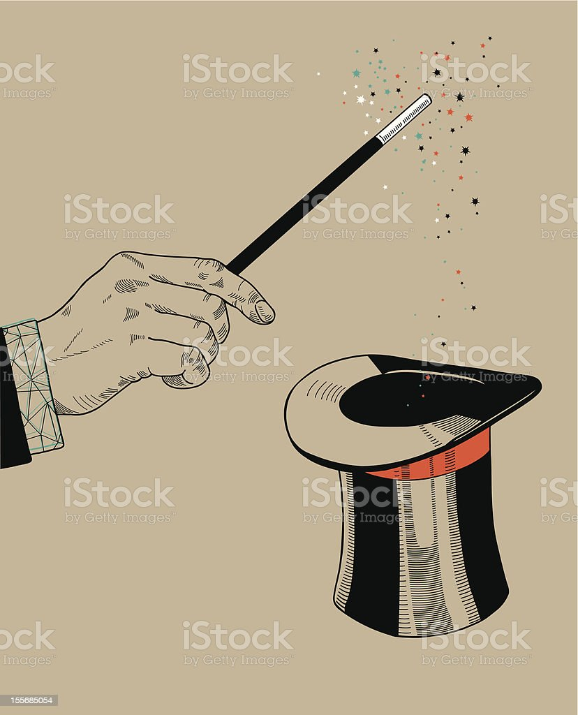 Hand holding magic wand with sparkles and hat. vector art illustration