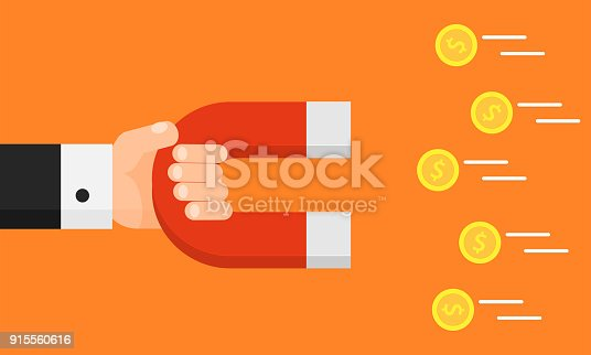 Hand holding magnet. Attraction money. Businessman. Flat style. Earn money. Vector illustration. Isolated on background