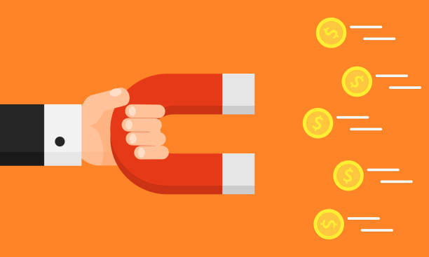 Hand holding magnet. Attraction money. Businessman. Flat style. Earn money Hand holding magnet. Attraction money. Businessman. Flat style. Earn money. Vector illustration. Isolated on background magnet stock illustrations