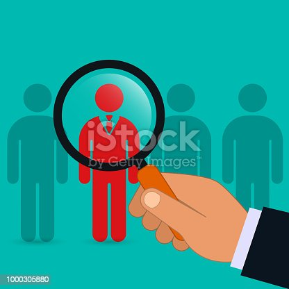 istock Hand holding magnifying glass for search a creative man, emploee. Recruitment or selection concept. Vector. 1000305880
