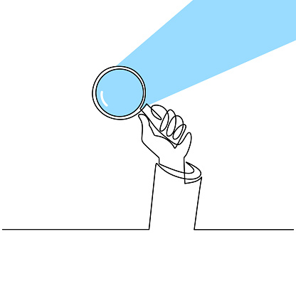 Hand holding magnifying glass one line drawing vector illustration continuous single hand drawn. Magnifying glass with reflected sunlight. The concept of theory of science with minimalist design