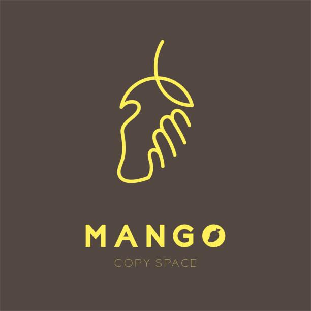 Mano que sostiene el icono de fruta Mango conjunto ilustración diseño color amarillo aislado sobre fondo marrón, eps10 vector - ilustración de arte vectorial