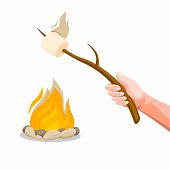 Hand holding Marshmallow Roasting on bonfire. Concept Cartoon illustration vector isolated in white background