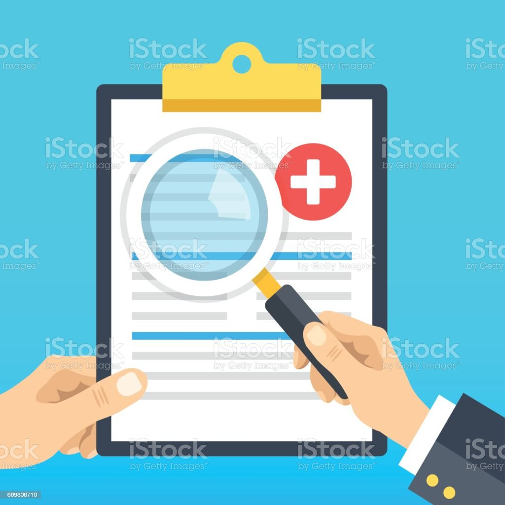 Hand holding medical clipboard and hand holding magnifying glass. Clipboard with medical records. Patient case study, analysis, clinical data, diagnostics concepts. Flat design vector illustration vector art illustration