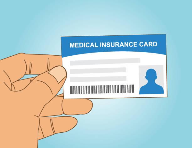 hand holding medical insurance card vector art illustration