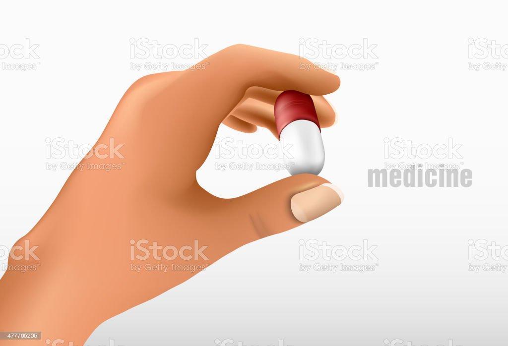 Hand holding medicine royalty-free stock vector art