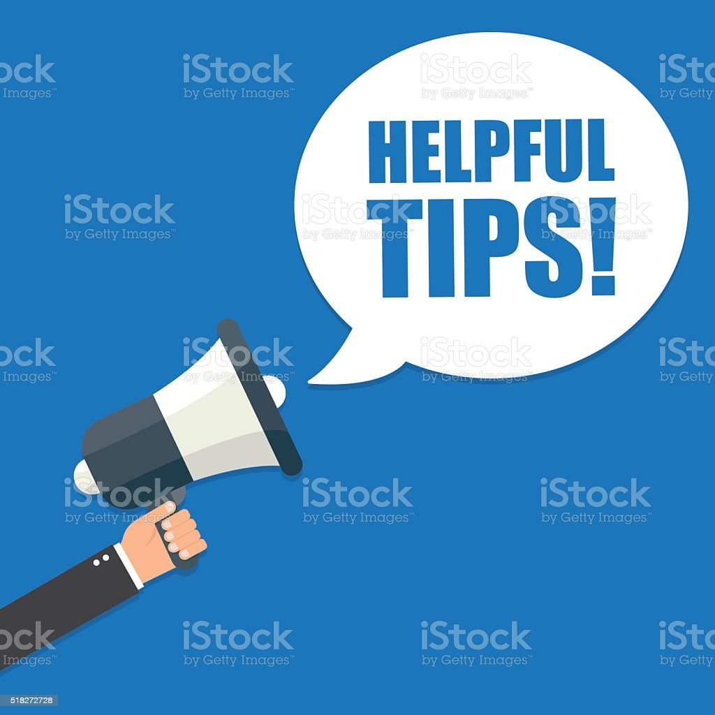 Hand holding megaphone - Helpful tips vector art illustration