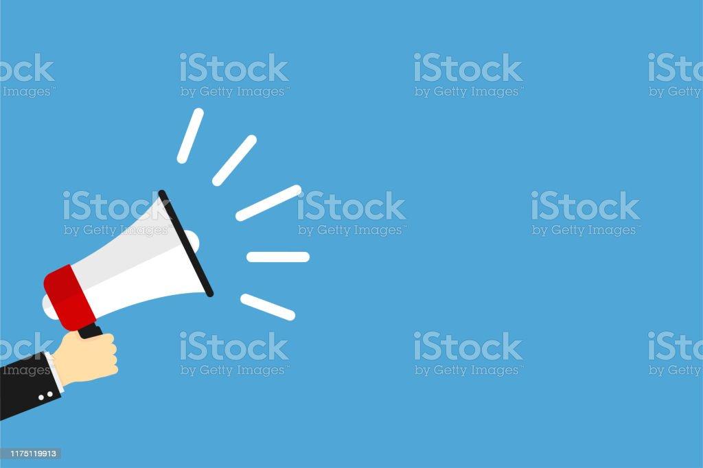 hand holding megaphone icon on blue background social media marketing information concept loudspeaker vector icon stock illustration download image now istock https www istockphoto com vector hand holding megaphone icon on blue background social media marketing information gm1175119913 327100655