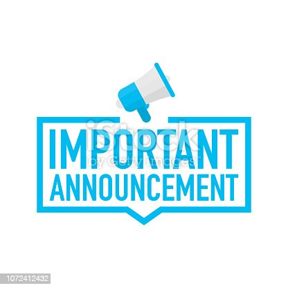 Hand holding megaphone - Important Announcement. Vector stock illustration.