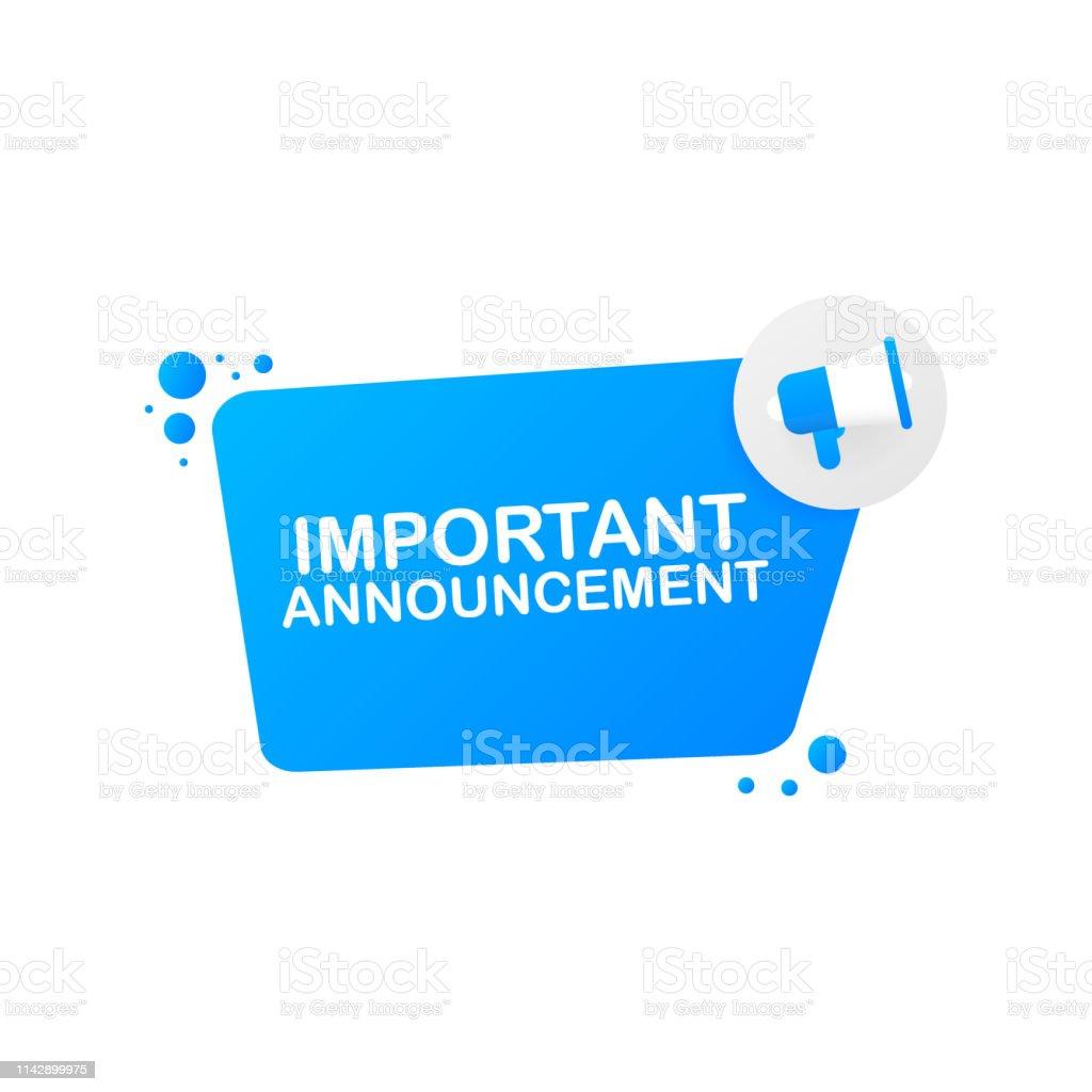Hand holding megaphone - Important Announcement. Vector illustration. - Grafika wektorowa royalty-free (Alarm)