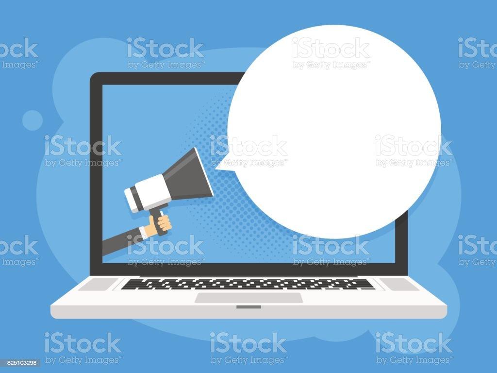 Hand holding megaphone. Laptop notebook computer screen background. Empty speech bubble. Vector illustration