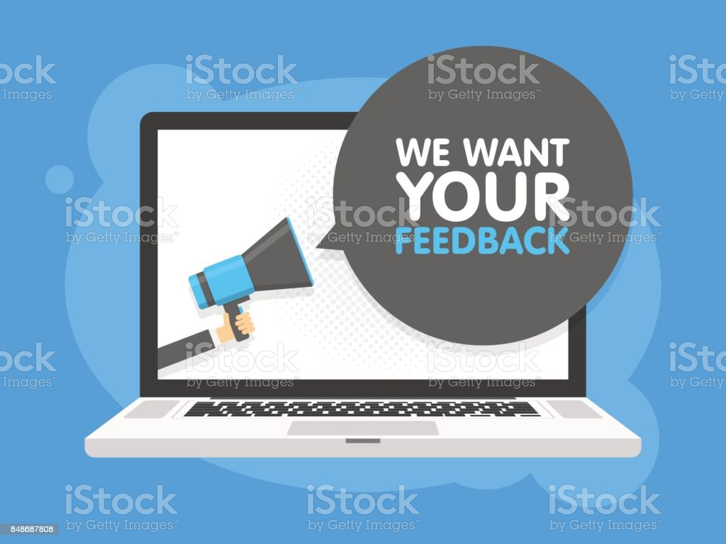 Hand halten Megaphon. Laptop Notebook-Computer-Bildschirm-Hintergrund. Wir möchten Ihr Feedback in der Sprechblase. Vektor-illustration – Vektorgrafik