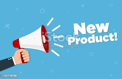 istock Hand holding megaphone - New product 1191778759