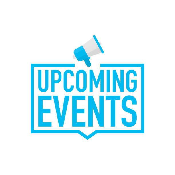 illustrazioni stock, clip art, cartoni animati e icone di tendenza di megafono con mano - prossimi eventi. illustrazione vettoriale. - evento