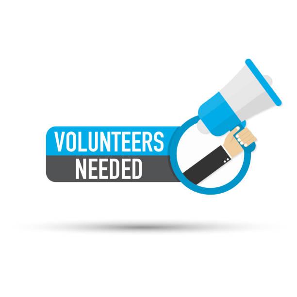 ilustrações de stock, clip art, desenhos animados e ícones de hand holding megaphone - volunteers needed. vector stock illustration. - coração fraco