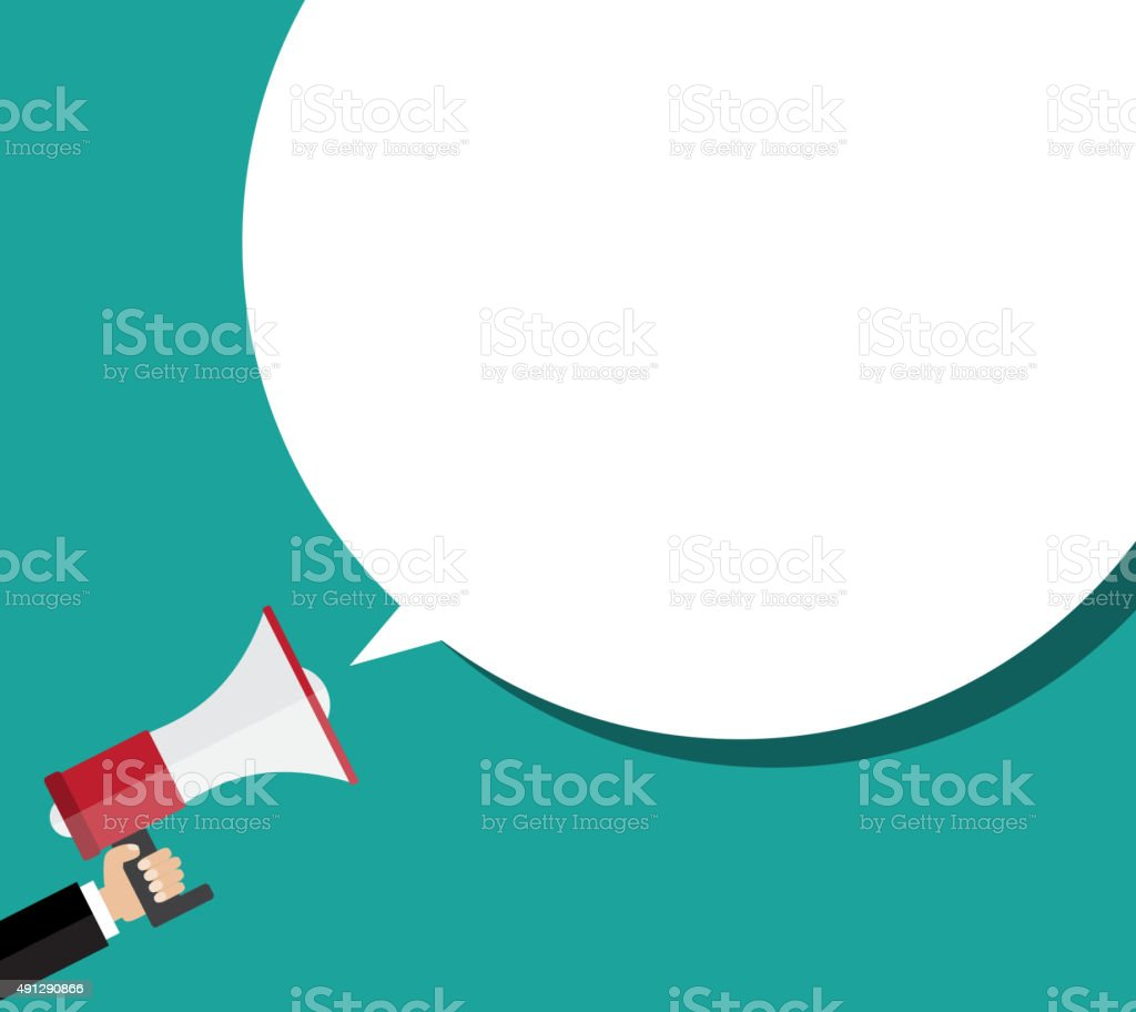 Hand holding megaphone with bubble speech vector art illustration