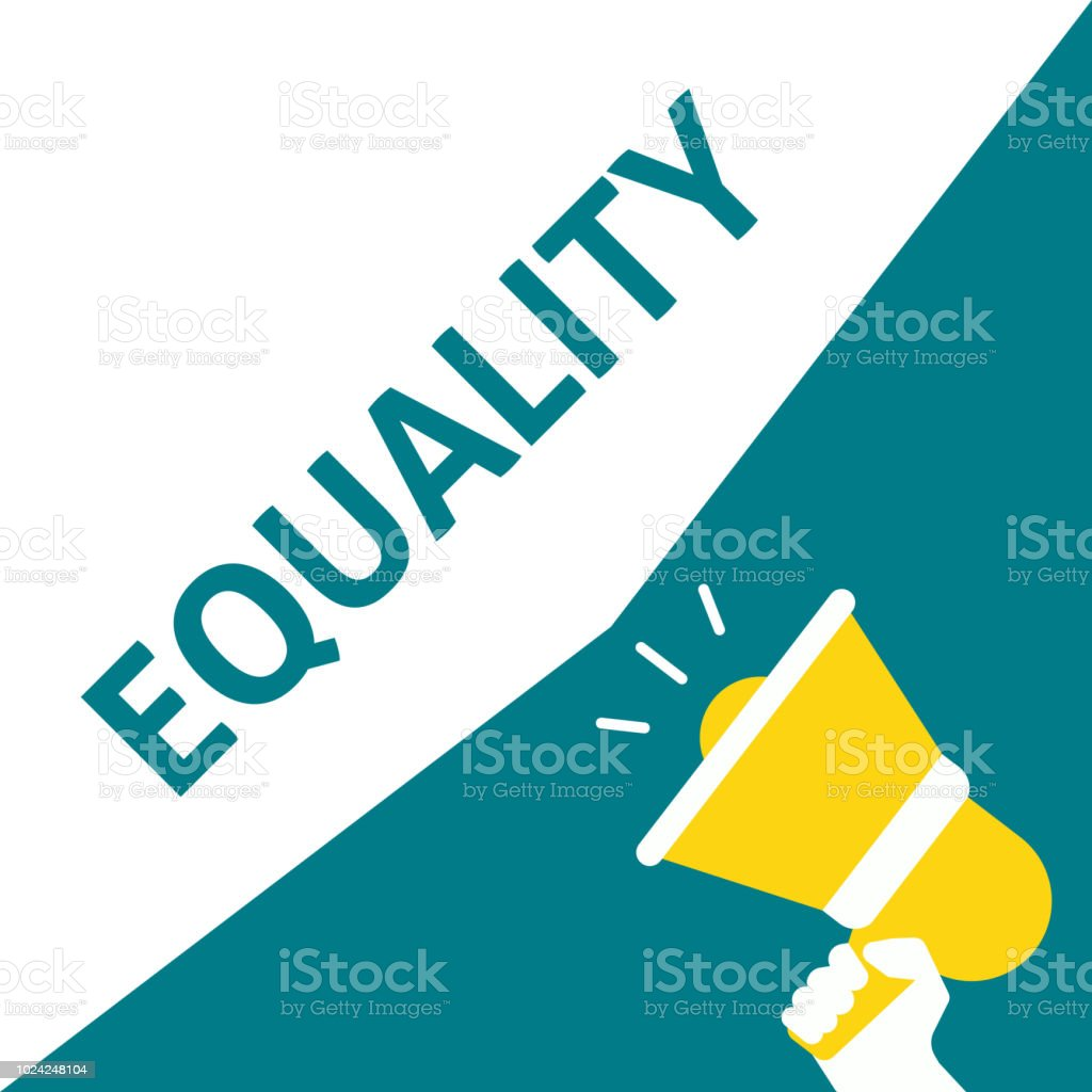 Hand Holding Megaphone With EQUALITY Announcement vector art illustration