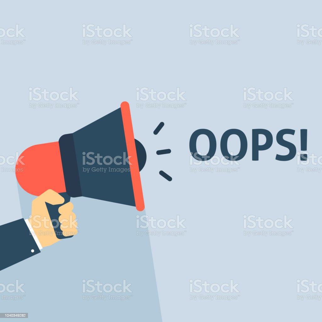 Hand Holding Megaphone With OOPS! Announcement vector art illustration