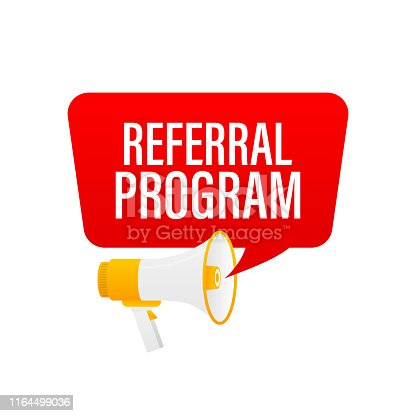 Hand holding megaphone with Referral Program.