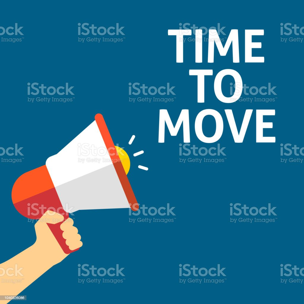Hand Holding Megaphone With TIME TO MOVE Announcement vector art illustration