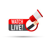 Hand Holding Megaphone with Watch live! Vector stock illustration.