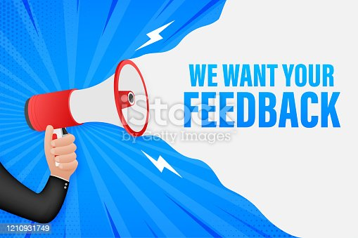 1130633985 istock photo Hand Holding Megaphone with We want your feedback. Megaphone banner. Web design. Vector stock illustration. 1210931749