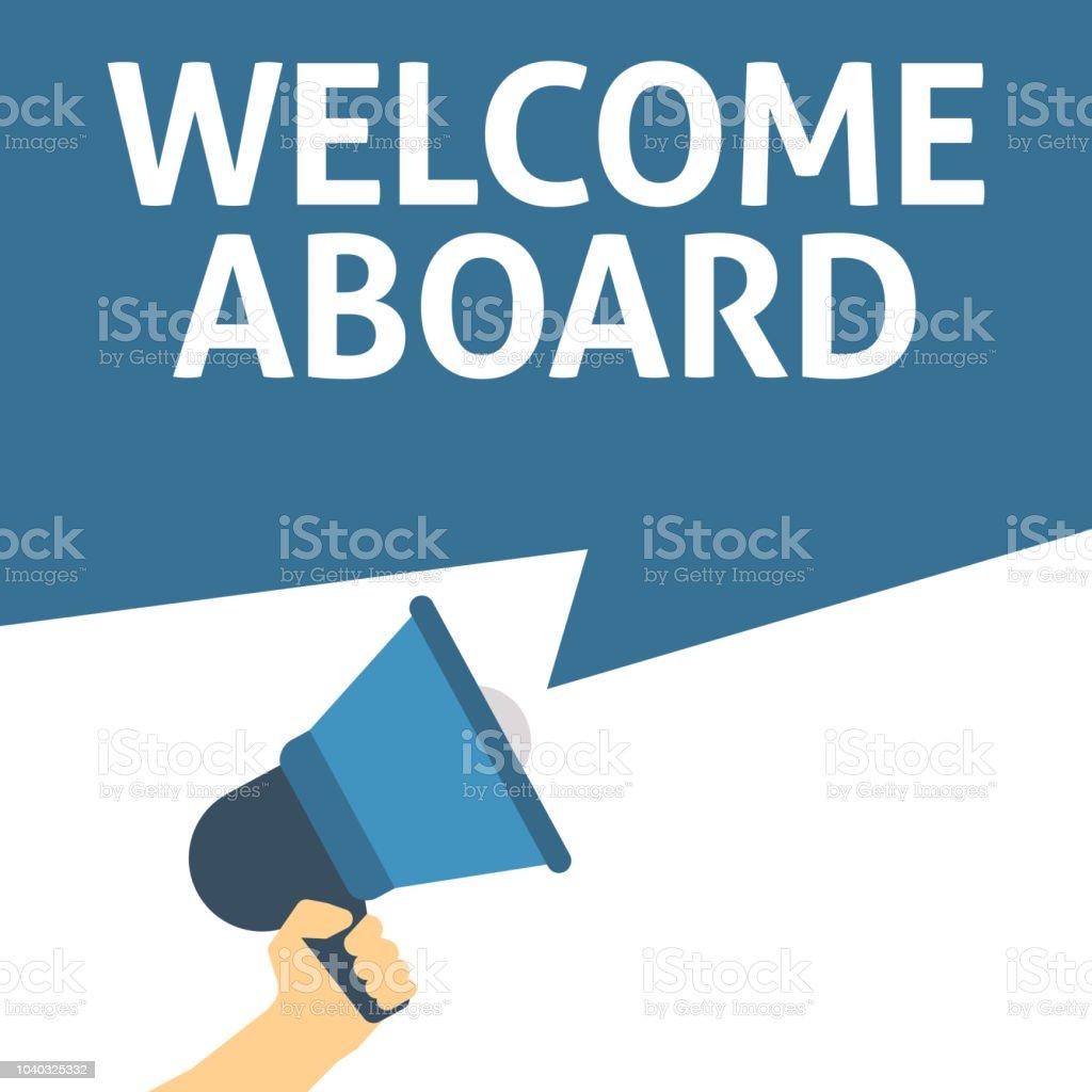 Megáfono con la bienvenida a bordo de anuncio de explotación de la mano ilustración de megáfono con la bienvenida a bordo de anuncio de explotación de la mano y más vectores libres de derechos de a bordo libre de derechos