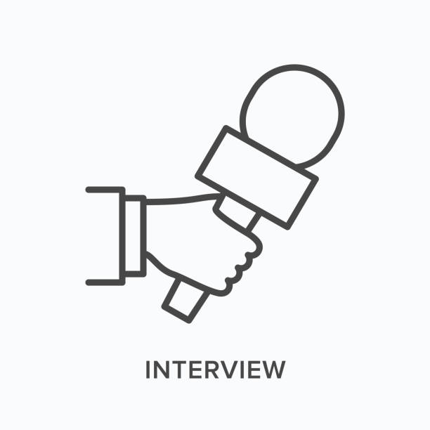 illustrations, cliparts, dessins animés et icônes de icône de ligne plate de microphone de fixation de main. illustration de contour de vecteur du journaliste prenant l'entrevue. conférence de presse pictogramme linéaire mince - interview