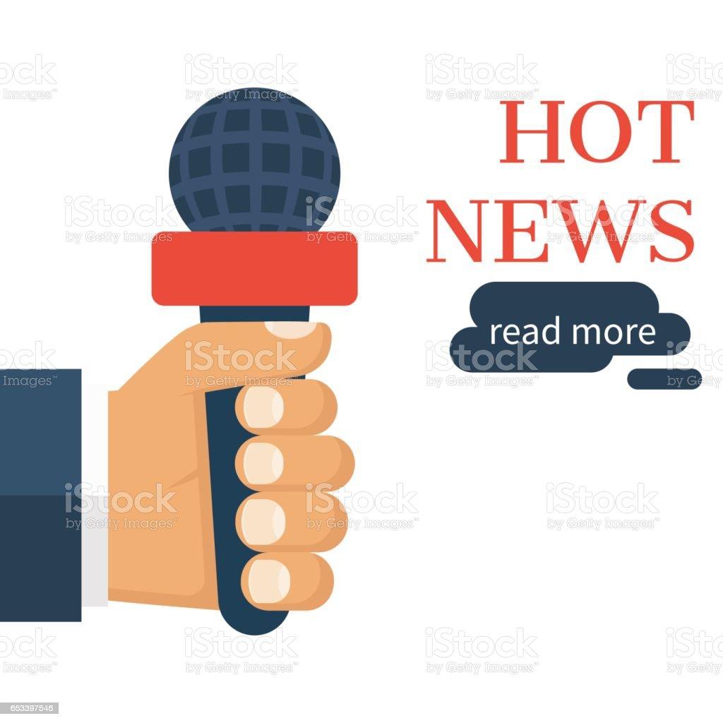 Hand holding microphone vector art illustration