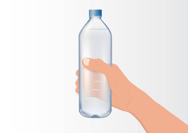 illustrations, cliparts, dessins animés et icônes de main retenant l'illustration vectorielle de bouteille d'eau potable minérale - bouteille d'eau