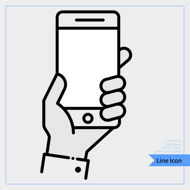 hand holding mobile phone icon - professional, pixel-aligned, pixel perfect, editable stroke, easy scalablility. - phone hand stock illustrations