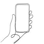 Hand Holding Mobile Phone Line Art Vector Illustration. Isolated on White Background