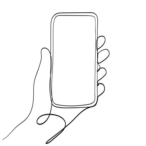 hand holding telefon komórkowy line art ilustracja wektorowa. - linia stock illustrations