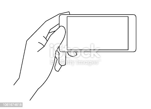 Hand holding mobile phone line drawing. Editable vector line illustration on isolated white background.
