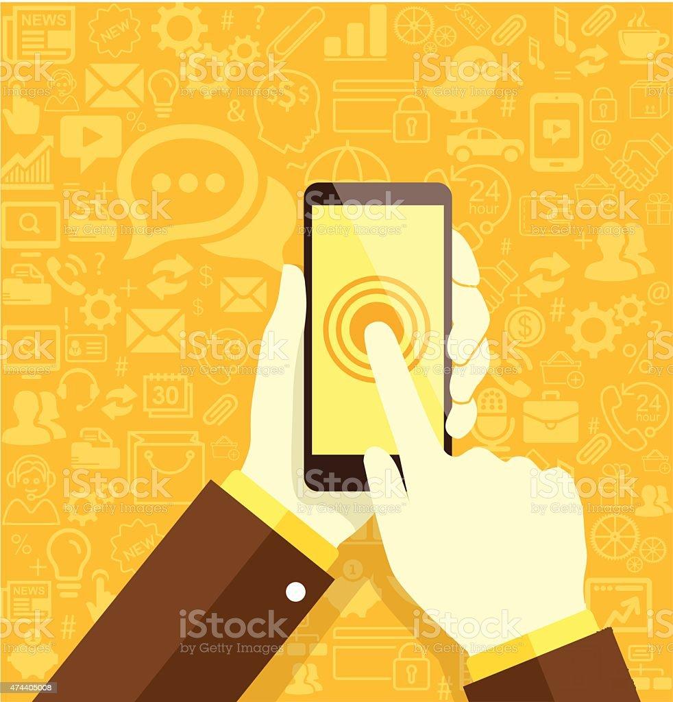 Mano Che Tiene Il Telefono Cellulare Su Sfondo Giallo Immagini
