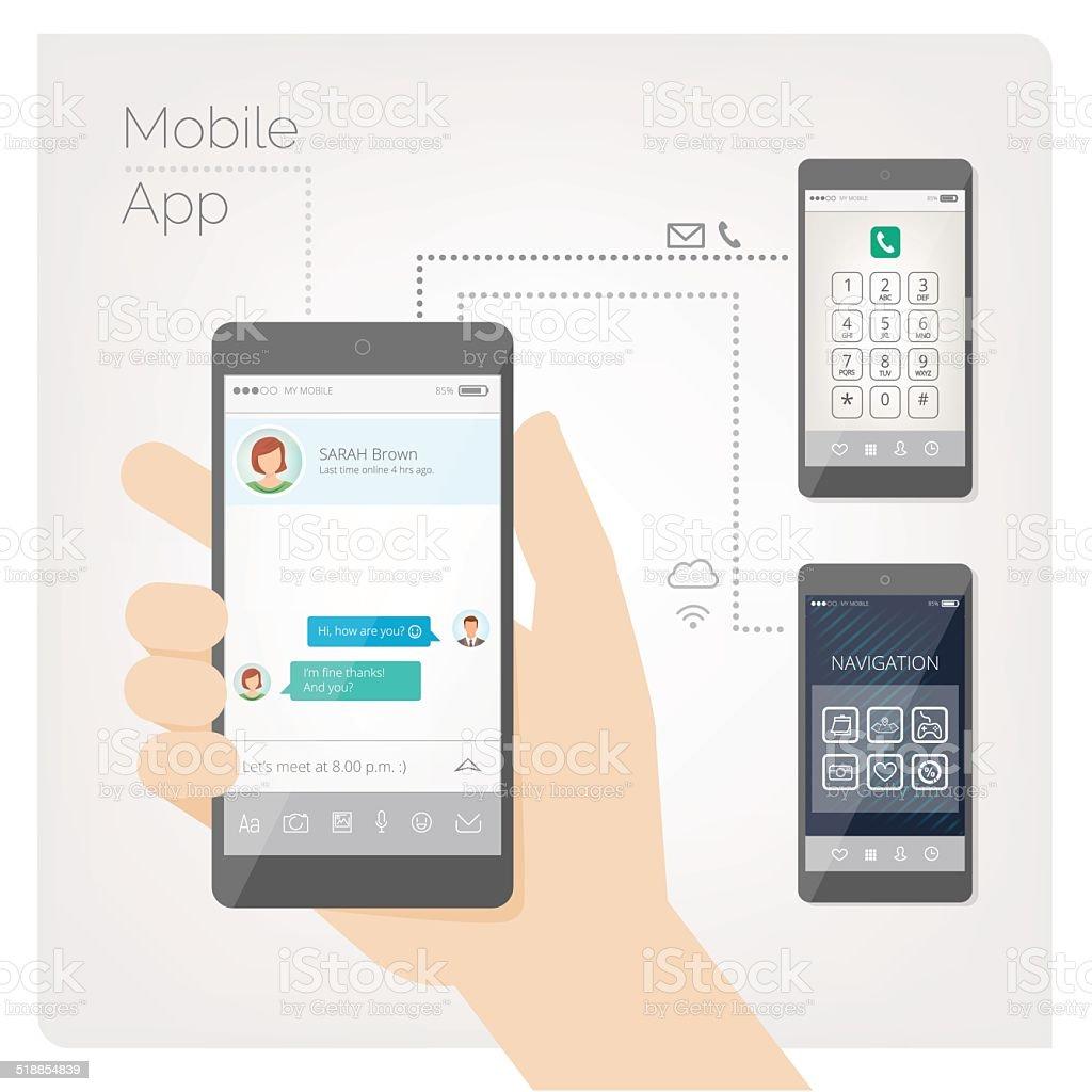 Hand holding mobile phone vector art illustration